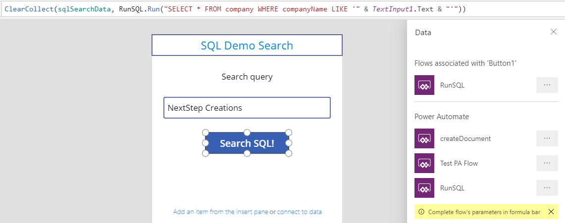 Running SQL Queries in PowerApps 14
