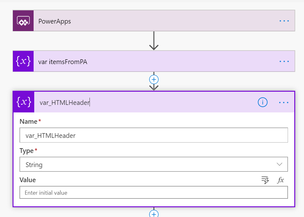 PowerApps - initialise variable header content
