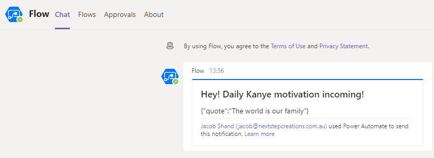 Teams message Kanye quote